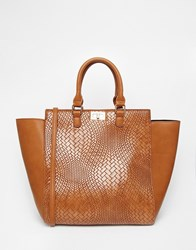 Pieces Woven Tote In Tan Brown