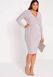 Missguided Plus Size Plunge Dress Grey Grey