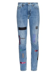 Aries Norm Multi Glitter Tape High Rise Jeans