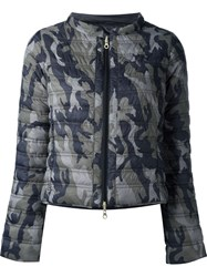 Duvetica Camouflage Reversible Coat Blue