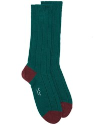 Paul Smith Contrast Heel And Toe Socks Green