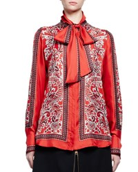 Alexander Mcqueen Long Sleeve Paisley Tie Neck Blouse Red
