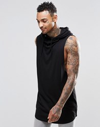 Asos Longline Sleeveless T Shirt With Hooded Cowl Neck Black