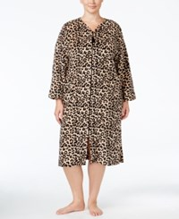 Miss Elaine Plus Size Plush Fleece Zip Front Robe Tan Black Leopard