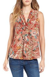 Sun And Shadow Women's Floral Print Ruffle Tie Tank
