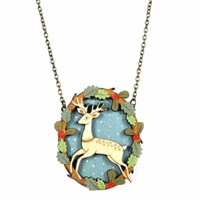 Layla Amber Leaping Deer Necklace