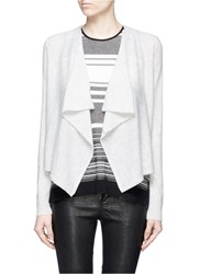 Vince Drape Front Cropped Cashmere Cardigan Grey