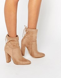 Truffle Collection Heeled Ankle Boot With Tie Back Taupe Mf Beige