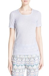 Women's Tory Burch 'Cameron' Rib Knit Tee French Lavender
