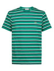 Lacoste Crew Neck Striped T Shirt Green