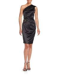 Eliza J One Shoulder Ruched Cocktail Sheath Dress Black