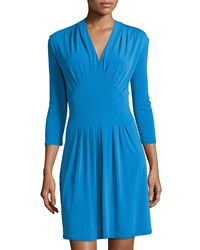 Catherine Catherine Malandrino Tinka V Neck 3 4 Sleeve Dress Mahi Blue