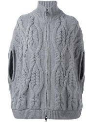 Fay Cable Knit Zipped Jacket Grey