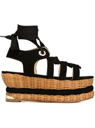 Paloma Barcelo Woven Platform Sandals Black