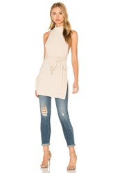 Lavish Alice Rib Knit Open Back Wrap Tie Tunic Top Beige