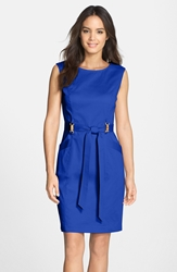 Belted Cotton Blend Sheath Dress Cobalt