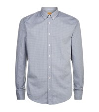 Boss Orange Textured Check Shirt Male Navy
