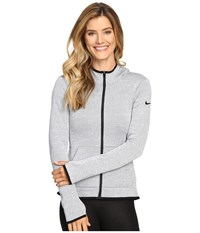Nike Therma Full Zip Hoodie Cool Grey Heather Black Women's Sweatshirt Gray