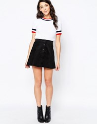 Glamorous A Line Button Front Faux Suede Mini Skirt Black
