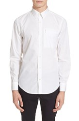 Men's Opening Ceremony Slim Fit Brushed Poplin Zip Pocket Shirt White
