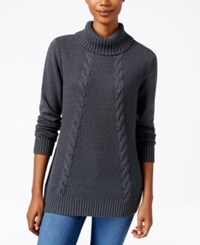 Karen Scott Cable Knit Turtleneck Sweater Only At Macy's Charcoal Heather