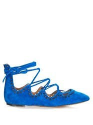 Isabel Marant Leoni Eyelet Embellished Suede Lace Up Flats Blue