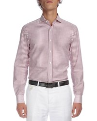Berluti Striped Button Down Shirt Wine Red