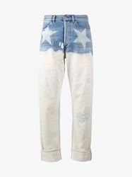 Faith Connexion Star Print Boyfriend Jeans Blue White Denim