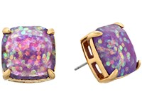 Kate Spade Small Square Studs Purple Glitter Earring
