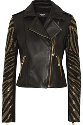 Versus Studded Suede And Leather Jacket Black