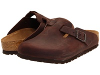 Birkenstock Boston Oiled Leather Unisex Habana Oiled Leather Clog Shoes Brown