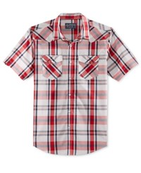 American Rag Men's Short Sleeve Plaid Shirt Only At Macy's Sunbaked Clay