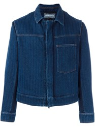 Ann Demeulemeester Concealed Fastening Cropped Jacket Blue