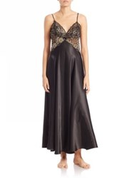 In Bloom Lace Trim Nightgown Black Gold