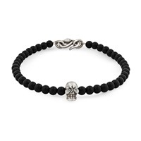 Snake Bones Skull Bracelet In Sterling Silver With Diamonds Black Onyx And Clasp Black Silver