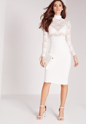 Missguided Sheer Lace Top Midi Dress White White