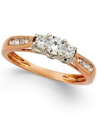 Macy's Three Stone Diamond Ring In 14K Gold White Gold Or Rose Gold 1 2 Ct. T.W.
