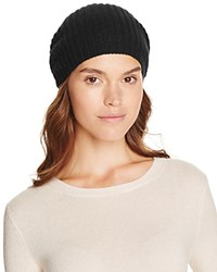 Bloomingdale's C By Cashmere Rib Slouch Hat Black