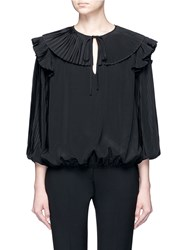 Co Keyhole Front Plisse Pleated Silk Top Black