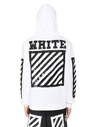 Off White Hooded Zip Up Cotton Sweatshirt