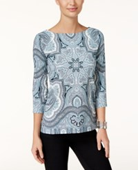 Charter Club Printed Boat Neck Top Only At Macy's Dusted Aqua Combo