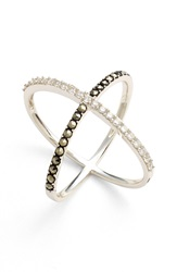 Judith Jack 'Rings And Things' Crossover Ring Silver Marcasite Crystal