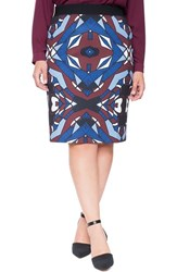 Plus Size Women's Eloquii Print Scuba Knit Pencil Skirt