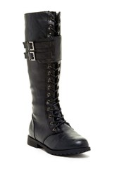 West Blvd Shoes Manila Faux Leather Military Lace Up Boot Black