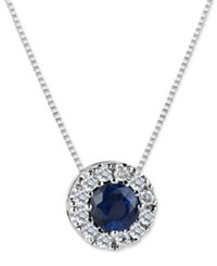Macy's Sapphire 3 5 Ct. T.W. And Diamond 1 5 Ct. T.W. Halo Pendant Necklace In 14K White Gold Blue