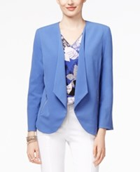 Alfani Petite Open Front Draped Blazer Only At Macy's Alf Perry Blue