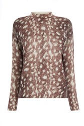 Warehouse Deer Print Boxy Jumper Brown