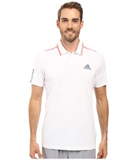 Adidas Barricade Polo White Tech Ink Flash Red Men's Short Sleeve Pullover