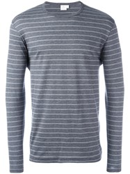 Sunspel Striped T Shirt Grey