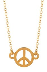 Kris Nations 14K Gold Plated Peace Sign Charm Necklace Metallic